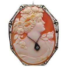 Filigree 1920s Three Color Shell Cameo in 14K White Gold Diamond Pin Pendant