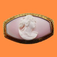 Art Deco Hand Engraved Shell Cameo Brooch in 14 Karat Yellow Gold