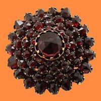 1890 Victorian Tiered Red Garnet Circle Pin