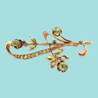 Russian 14 Karat Rose Gold Demantoid Garnet Rose Cut Diamond Floral Pin Pendant