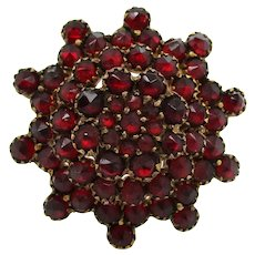 1880 Victorian Garnet Cluster Pin