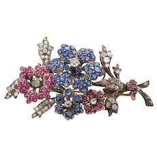 1880 Victorian Silver on 14 Karat Gold Sapphire Ruby Diamond Floral Brooch