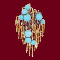 Mid-Century Modern 18 Karat Gold Platinum Turquoise Diamond Sapphire Brooch
