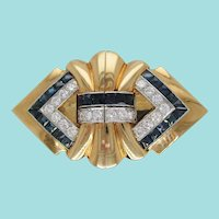 18 Karat Yellow Gold and Platinum Diamond Sapphire Clip Pin