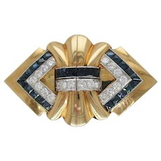 18 Karat Yellow Gold and Platinum Diamond Sapphire Clip Pin