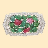 1925 Art Deco Tutti Frutti Carved Emerald, Ruby and Diamond Platinum Brooch