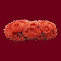 Mid-Century Modern Hand Carved Red Coral Sterling Silver Brooch