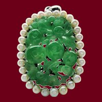 1925 Art Deco Sterling Silver Handcarved Green Jade Pin Pendant