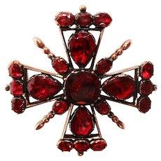 12 Karat Rose Gold and Garnet Pin Pendant Mint in Box