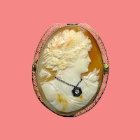 Large 14K Carved Shell Diamond Cameo Pin/Pendant