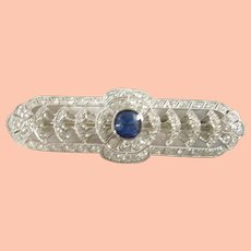 Art Deco Platinum Sapphire and Diamond Bar Pin