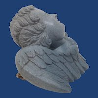 Victorian Hand Carved Blue Lava Cherub Pin Brooch
