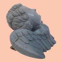 Victorian Hand Carved Blue Lava Cherub Pin Brooch