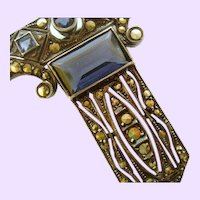 Art Deco Sterling Silver Marcasite and Synthetic Sapphire Brooch