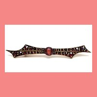 1920 Etruscan Czech Garnet Bar Pin