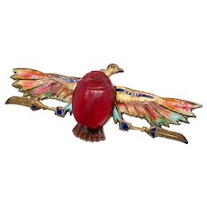Egyptian Revival Plique-a-Jour Carved Carnelian Scarab Eagle Pin 1923