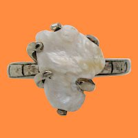 1920 Art Deco 14K White Gold Natural Pearl Ring