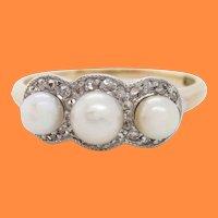 Edwardian Platinum over Gold Three-Stone Pearl Rose Cut Diamond Ring