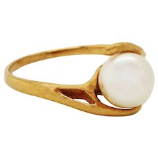 14 Karat Yellow Gold Pearl Bypass Engagement Ring