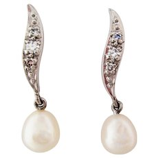 Midcentury 14 Karat White Gold Diamond and Pearl Articulated Drop Earrings