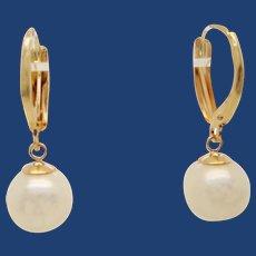 14 Karat Yellow Gold Natural Pearl Dangle Earrings