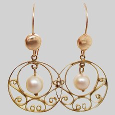 1950's 14K Yellow Gold Swirl Cutout Dangle Pearl Earrings