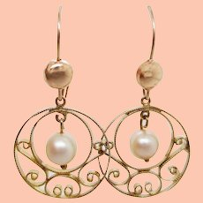 1950's 14K Yellow Gold Swirl Cutout Dangle Pearl Earrings