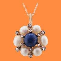 1880 14K Rose Gold Victorian Lapis Pearl Diamond Pendant