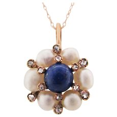 1880 Victorian 14K Rose Gold Lapis Pearl Diamond Pendant