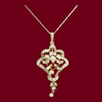 1890 Victorian 15 Karat Yellow Gold English Seed Pearl Pendant Lavaliere