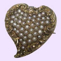 Victorian Seed Pearl Heart Pin/Pendant 14K Yellow Gold