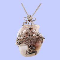 1920 Art Deco 14 Karat White Gold Natural Pearl and Diamond Pendant
