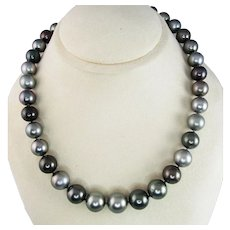 Multi-Color Tahitian Pearl Necklace with 14 Karat Gold Clasp