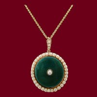 1910 Edwardian Pearl and Green Enamel Pendant on 18K Chain