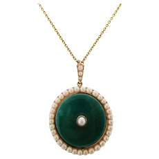 1910 Edwardian Pearl and Green Enamel Pendant on 18K Chain