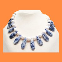 Contemporary Designer Ringed Pearl and Sodalite Drop Bead Necklace