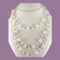 Long Sterling Silver Pearl Chain with Diamond Clasp