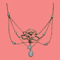 Art Nouveau Pearl and Diamond Gold Necklace