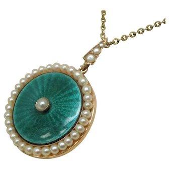 Edwardian Pearl Enamel 18 Karat Gold Necklace