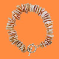 Hand Strung Natural Pearl Sterling Silver Clasp Bracelet