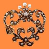 Victorian 10 Karat Rose Gold Heart Shape Seed Pearl and Diamond Pin Watch Holder