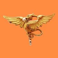 1890 Victorian 14 Karat Gold Krementz Winged Dragon Pearl Watch Holder Pin