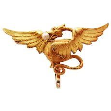 1890 Victorian 14 Karat Gold Krementz Winged Dragon Pearl Watch Holder Pin