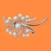 Midcentury 14 Karat White Gold Mikimoto Pearl Spray Brooch