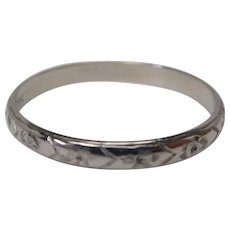 18K Art Deco White Gold Engraved Wedding Band Ring