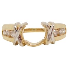 14 Karat Yellow Gold Channel Set Knot Detail Engagement Ring Wedding Band Jacket