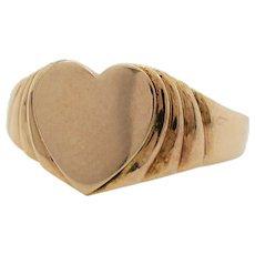 Original Deco 10K Yellow Gold Child's Heart Signet Ring