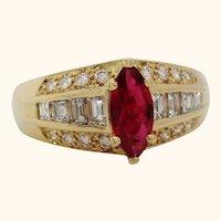 Midcentury 14 Karat Yellow Gold Diamond and Ruby Cocktail Ring