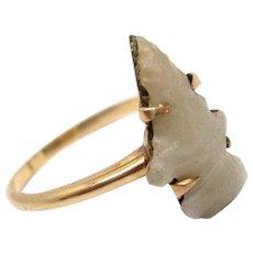 Victorian  Carved Stone Arrowhead 14K Gold Ring Victorian circa 1890