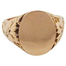10 Karat Rose Gold Victorian Signet Ring with Engraving